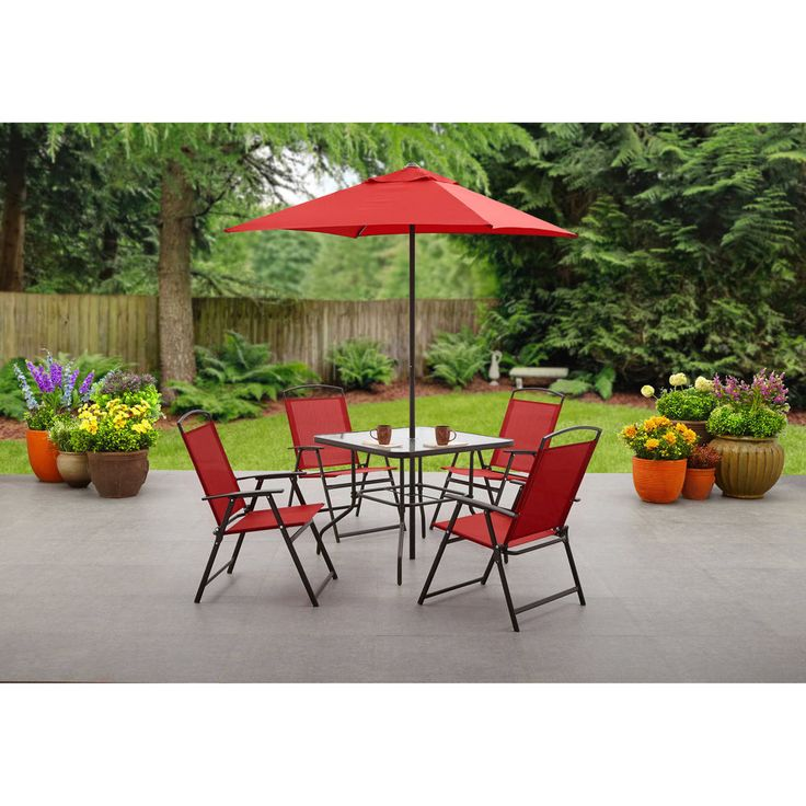 Patio Dining Set 6 Piece Foldable Chair Red Tempered Glass Table Top Umbrella #Mainstays