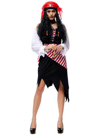 Halloween Pirate Costumes Cosplay Pirates of The Caribbean Dress with Belt Headband