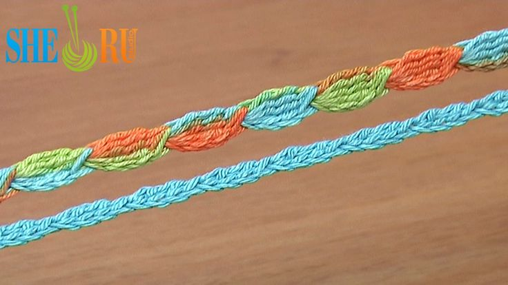Crochet Cord Tutorial 44 5-Treble Crochet Cluster Stitch http://sheruknitting.com/videos-about-knitting/romanian-lace-ribbons-and-cords/item/373-crochet-cluster-stitch-cord.html Crochet easy and fast with our video instruction. This cord is not difficult to make. You just need to work the cluster stitch all the time until you cord will be long enough for your needs. In this tutorial we are making the cord of 5-trble crochet cluster stitches...