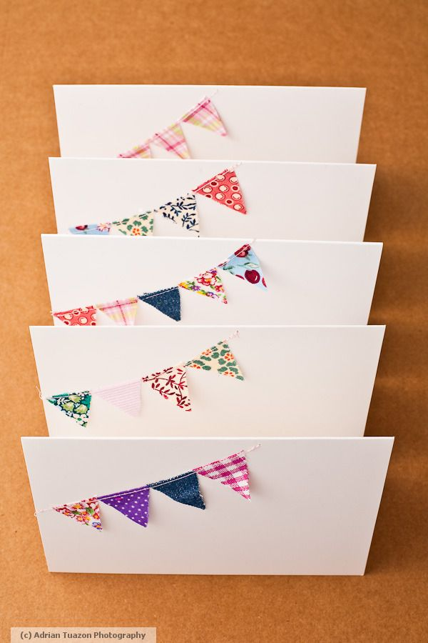 """This would be cute for congrats grad cards with school colors for bunting and a """"congrats"""" below"""