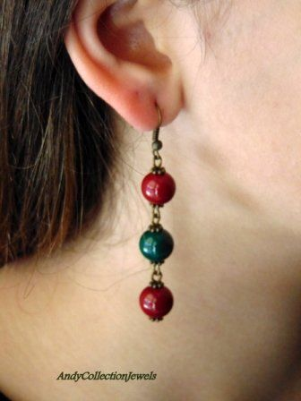 Women's Touchable Fall Winter Cheap Dangling Earrings with Burgundy and Dark Green Glass Stones, Gift For Her