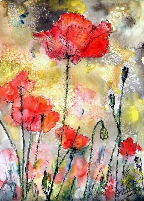 """Tall Poppy Watercolor & Ink by Ginette"" by Ginette Callaway, Georgia // Watercolor & Ink. Pained in 2002 The Original is sold. // Imagekind.com -- Buy stunning, museum-quality fine art prints, framed prints, and canvas prints directly from independent working artists and photographers."