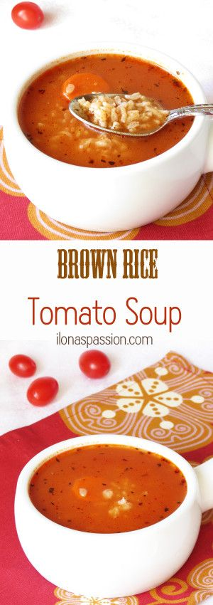 Brown Rice Tomato Soup - Healthy Brown Rice Tomato Soup recipe served with basil and a dollop of greek yogurt by ilonaspassion.com I @ilonaspassion