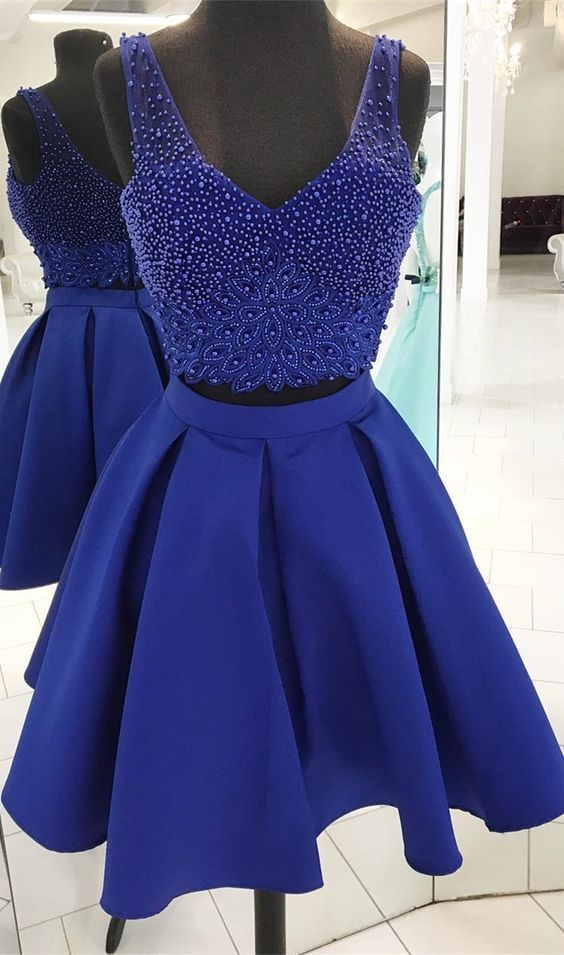 dd73cd70ce Two Piece V-Neck Short Royal Blue Homecoming Prom Dress with Beading ...