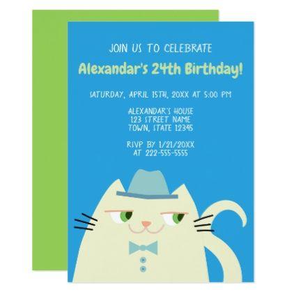 Birthday Party Cat Dandy Blue Cool Cartoon Boy Card - invitations custom unique diy personalize occasions