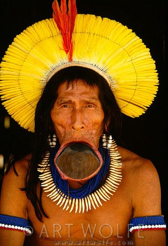 Portrait of elder Kayapo, Para State, Brazil. © Art Wolfe  Interesting, but not sure about the lip stretching..