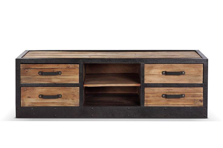 meuble tv bas industriel vintage bois et m tal. Black Bedroom Furniture Sets. Home Design Ideas