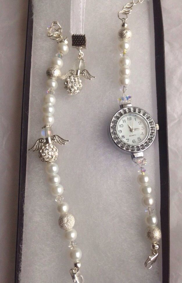 Holy communion watch and bracelet set with keepsake angel