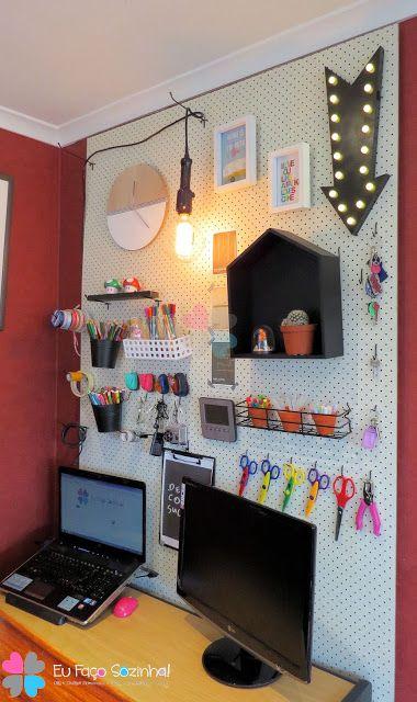 Eu faço Sozinha!: Home office - Painel Perfurado - Pegboard