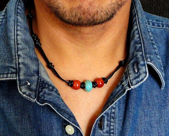 Mens Tribal Necklace Leather Choker for Men by mamisgemstudio, $32.95