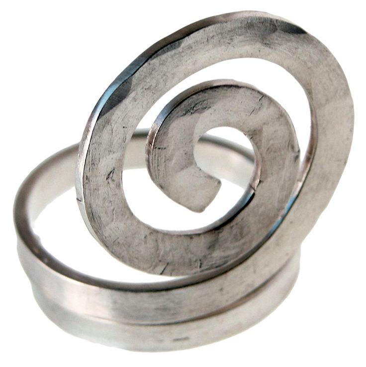 Handmade rhodium plated sterling silver ring