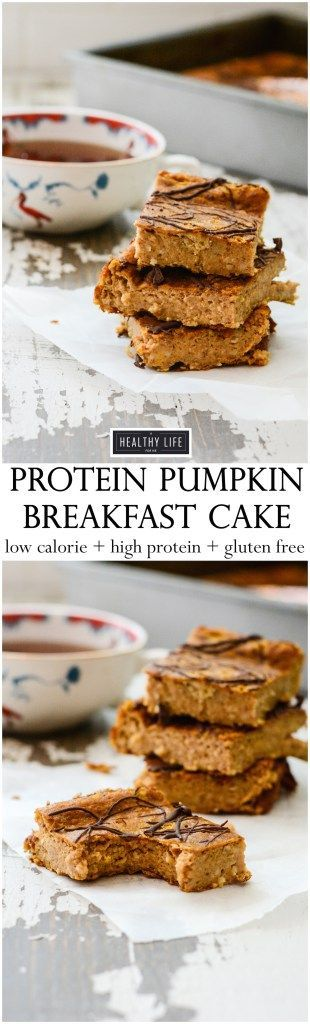 Protein Pumpkin Breakfast Cake {gluten free + vegetarian} is the perfect quick and easy make ahead healthy breakfast. A great way to wake up to a fall morning and enjoy a delicious low calorie, high protein, gluten free breakfast that you make the night before. - A Healthy Life For Me