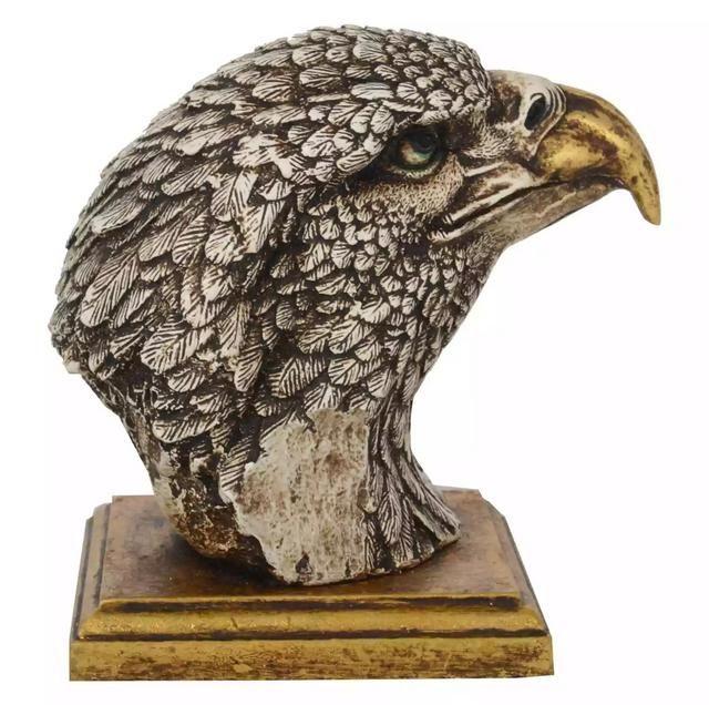 Ramraj Resin and Marble Dust Eagle Head with Clock Idol RRH399