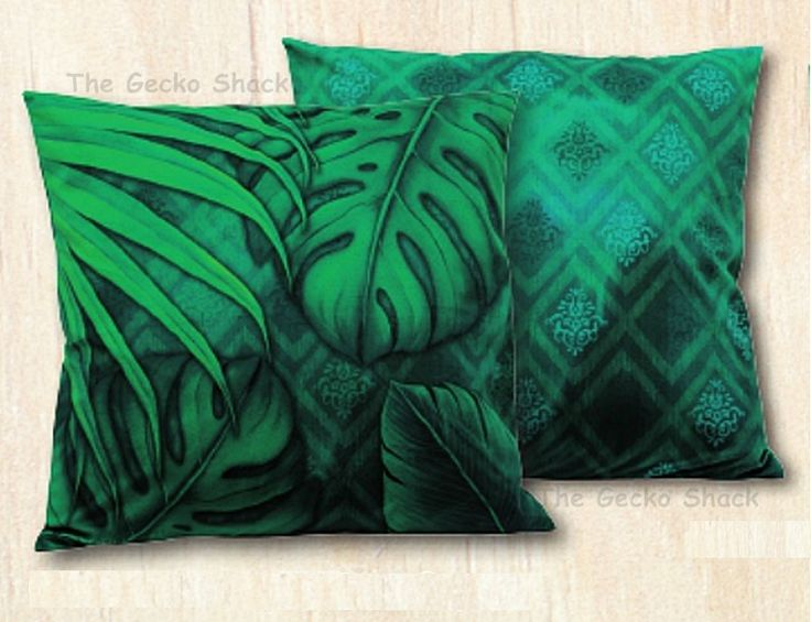 The Gecko Shack - Earthing 45cm Velvet Cushion Green Rainforest Leaves LIsa Pollock, $34.95 (http://www.geckoshack.com.au/earthing-45cm-velvet-cushion-green-rainforest-leaves-lisa-pollock/)