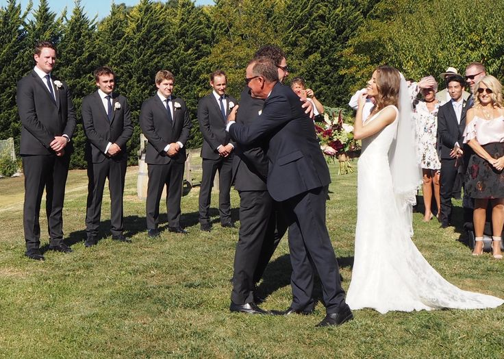 Greeting dad at the alter