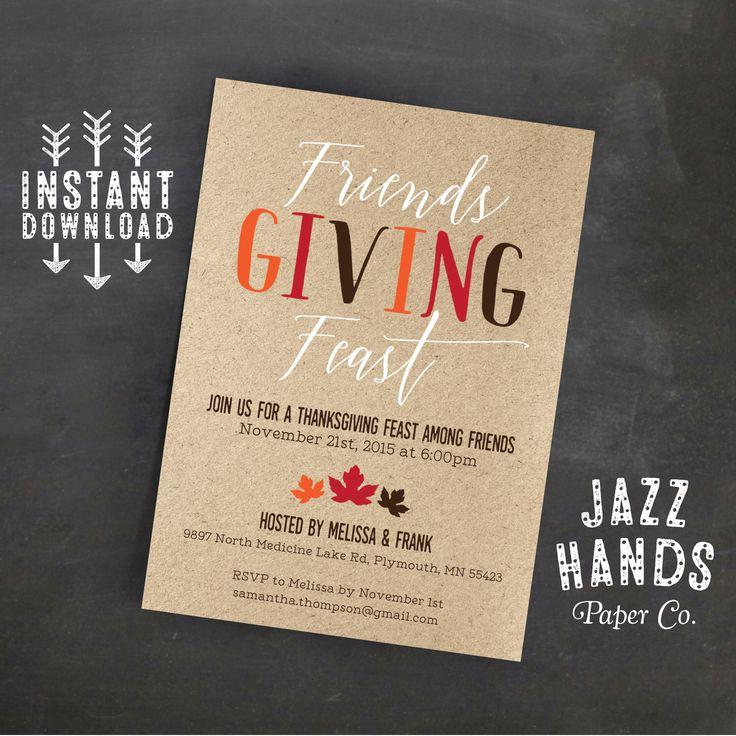 Friendsgiving Invitation Template   DIY Printable   Friendsgiving Feast   Friends Giving Party   Thanksgiving for Friends   Rustic   Modern by JazzHandsPaperCo on Etsy https://www.etsy.com/listing/253307768/friendsgiving-invitation-template-diy