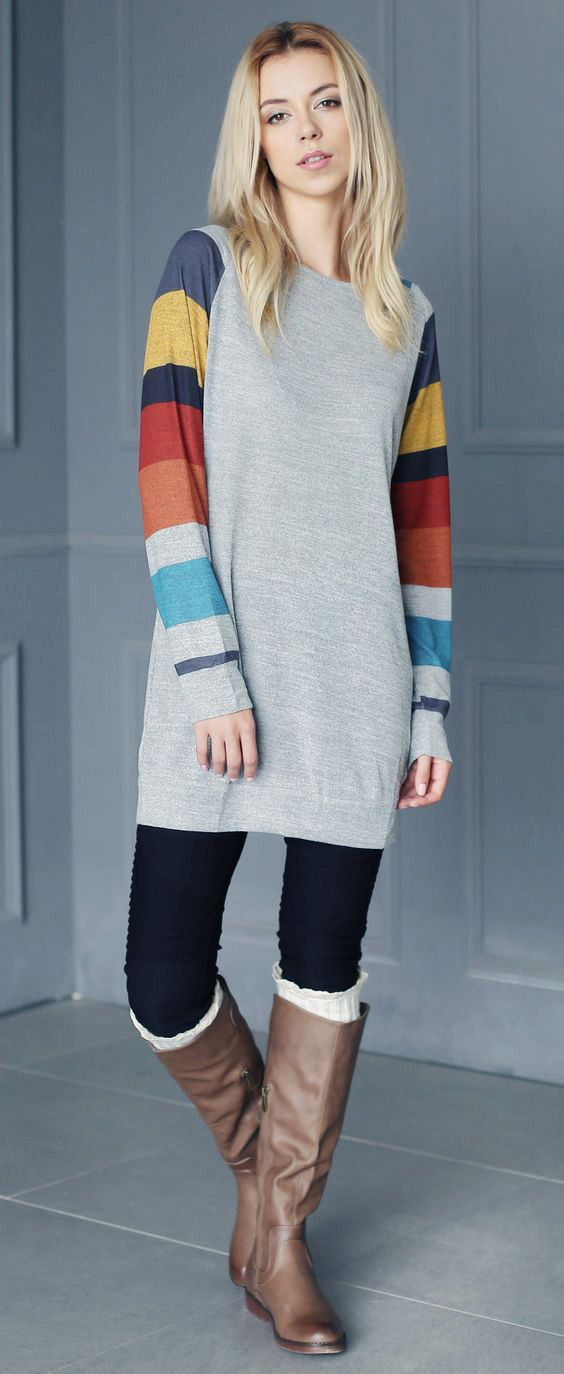 Only $28.99! Chicnico Casual Spliced Multi color Long Sleeve Top