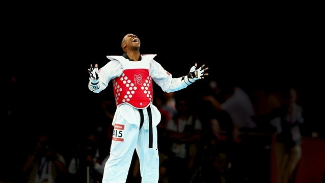 Terrence Jennings of the United States reacts to defeating Diogo Silva of Brazil during the men's-68kg Taekwondo bronze medal finals on Day 13 at ExCeL.