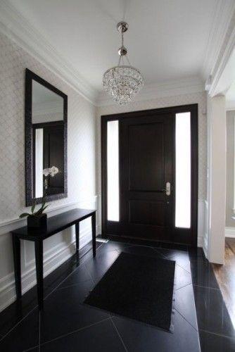 .: Foyers Ideas, Interiors Doors, Decor Ideas, Black Interiors, Floors, Black Doors, Foyers Design, Dark Doors, Front Doors