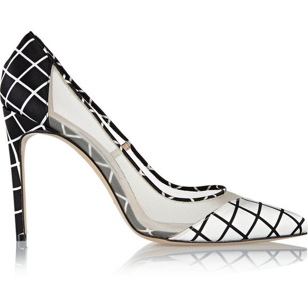 Bionda Castana Bay mesh-paneled satin pumps ($315) ❤ liked on Polyvore featuring shoes, pumps, black, black mesh shoes, satin shoes, high heel shoes, slipon shoes and black satin pumps