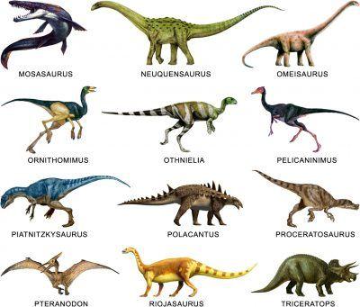 diferentes tipos de dinosaurios y sus nombres