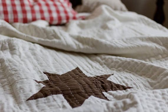 Linen Hand-quilted Quilt Bedspread with the Stars Linen