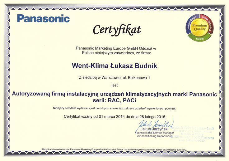 Certyfikat z firmy Panasonic