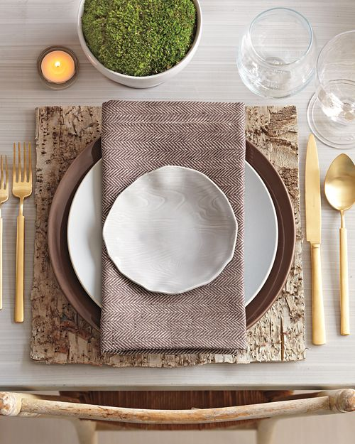 neutrals and square place mat-love the whole combination earthy with neutral colors and a touch of greenery