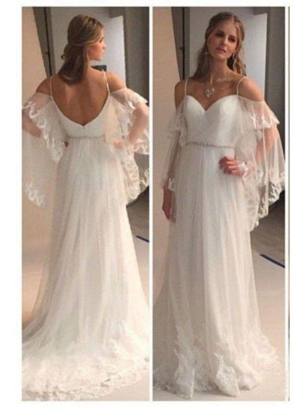 OFF SHOULDER LOW BACK SWEETHEART BEACH WEDDING DRESS