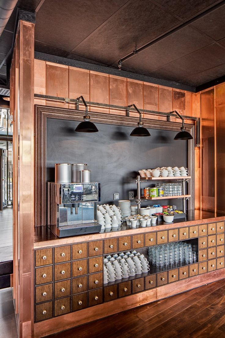 Radisson Blu Riverside by Doos Architects copper. Apothecary Espresso & Breakfast Bar.