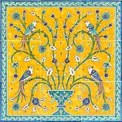 Birds of paradise , Hand Painted Tiles