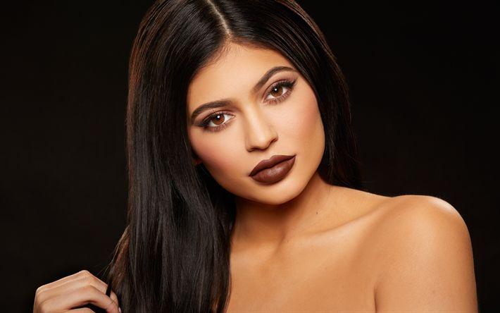 Scarica sfondi 4k, Hollywood, Kylie Jenner, trucco, bellezza, brunetta
