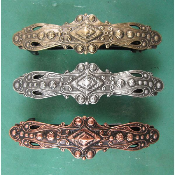 Old Fashion Baroque French Barrette 70mm Hair Accessories Barrettes... ($16) ❤ liked on Polyvore featuring accessories, hair accessories, barrettes & clips and grey