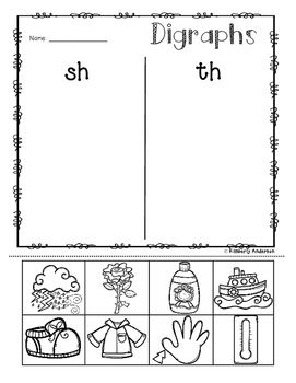no prep digraphs picture sorting activity sheets ch sh th wh 1st grade. Black Bedroom Furniture Sets. Home Design Ideas
