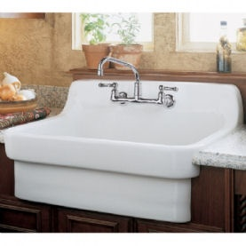 A Sink With Built In Backsplash