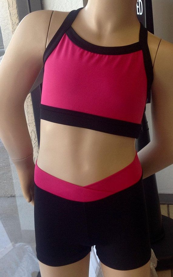 57bcd1a3612 Rose pink, Dark purple, fuchsia and black Crop top with Crossover ...