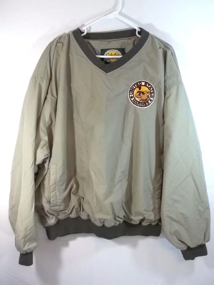 Cabelas Nylon Pullover Windbreaker Lined Jacket Tan USMC Patch XL | Clothing, Shoes & Accessories, Men's Clothing, Coats & Jackets | eBay!