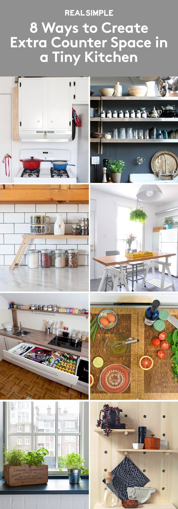8 Ways To Create Extra Counter Space In A Tiny Kitchen | Try These Space