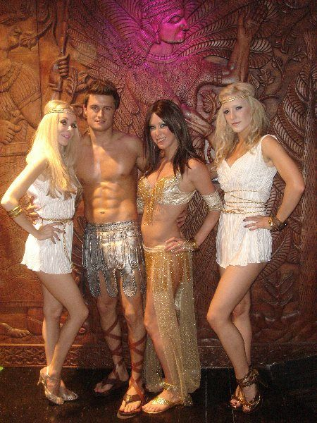 Roman and Greek themed hosts and hostesses always create a great atmosphere for guests to arrive into at your event. Tel:  020 3602 9540 www.calmerkarma.org.uk