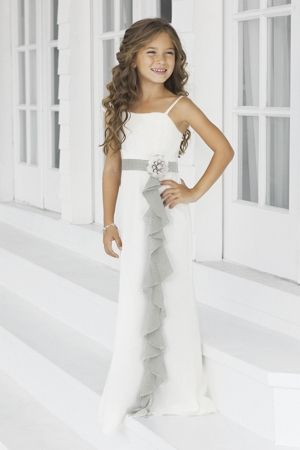 Charmeuse Ruffles,Straps Style 46 Junior Bridesmaid Dress by Alexia Designs