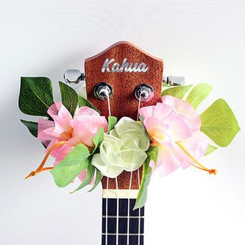 ribbon lei for ukulele (organdie pink) / ukulele accessories/ ukulele decor / mandolin /hawaiian lei /organdie ribbon / monstera