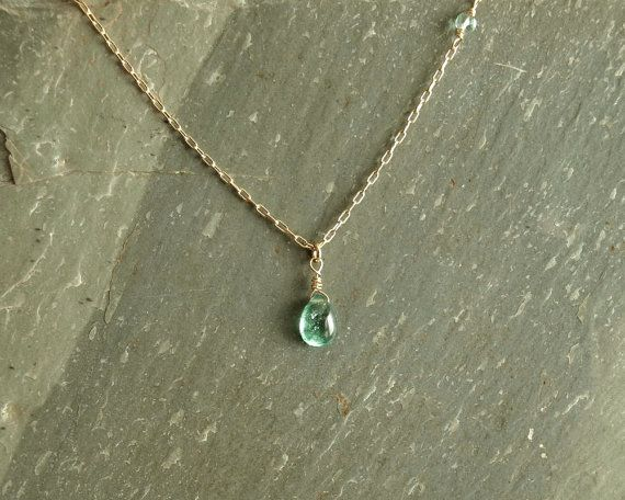 Simple Emerald Necklace 14K goldfilled smooth by bluegreenjewels