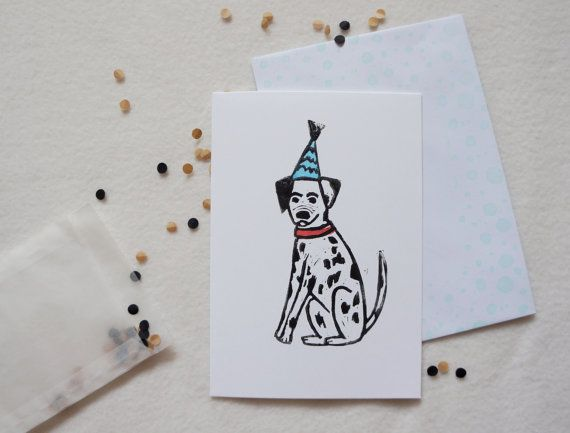 Party Dog Lino cut #Linoprint #Dalmatian Spotty Dog by JessicaYeong