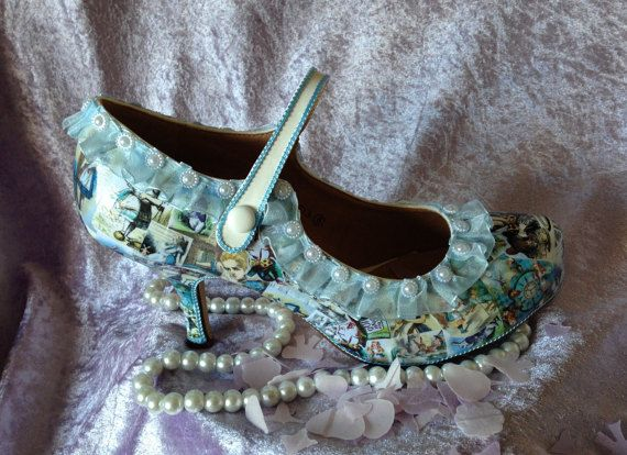 Alice in Wonderland Decoupage Wedding Bridal Shoes. UK 3-8
