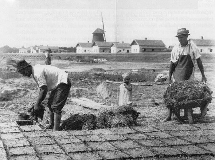 Vályogvetés. Karcag (Szolnok megye). Tagán Galimdzsán felvétele, 1934 Forrás: mek.niif.hu