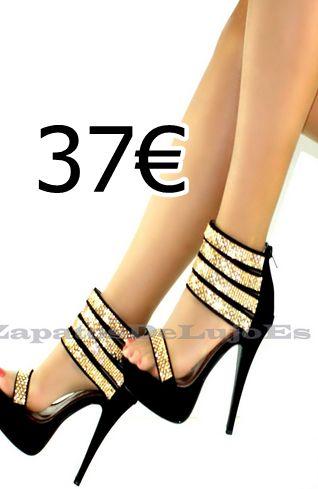sandalia negra con tiras de brillantes dorados