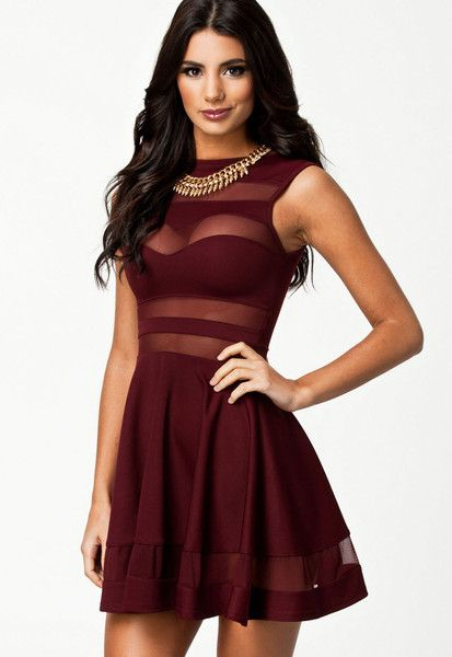 Dress up HerFashion skater dress is a great way to build up a woman desired S shape, any woman in skater dress looks perfect. The mesh detailing of this skater dress attracts people want to explore, c