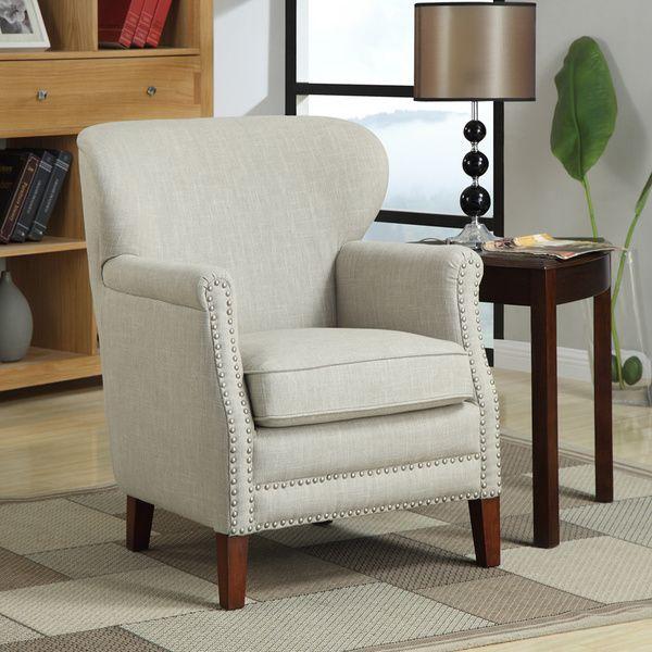 Erika Brown/ Beige Linen Accent Chair