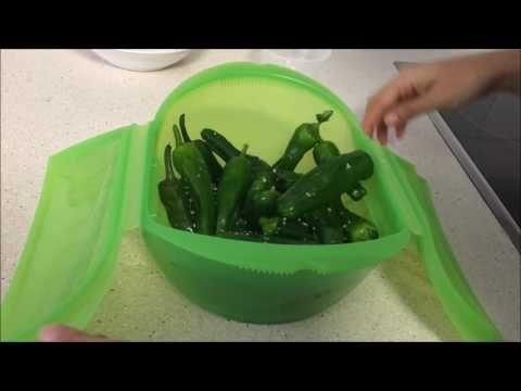 (3246) Pimientos de padrón en estuche de vapor Lekue - YouTube