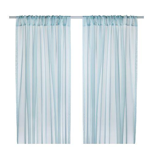 IKEA - TERESIA, Skira gardiner, 1 par, , Skira gardiner släpper igenom dagsljus men hindrar insyn, perfekt för en lager-på-lager lösning till ditt fönster.Den sydda kanalen i ovankant gör att du kan hänga gardinerna direkt på en gardinstång. (79kr)